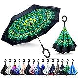 ZOMAKE Parapluie Inversé,Parapluie Canne,Double Couche Coupe-Vent, Mains Libres poignée en Forme C, Idéal pour Voiture et Voyage (Paon)