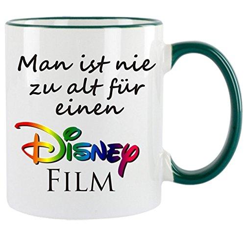 Crealuxe Man ist nie zu alt für einen Disney Film - Kaffeetasse mit Motiv, Bedruckte Tasse mit Sprüchen oder Bildern