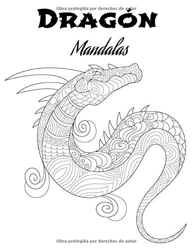 Dragón Mandalas: Libro para colorear para adultos y adolescentes   Mandala   Antiestrés, relajación   Gran formato, 21,6x28 cm.