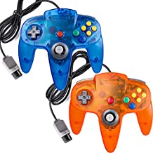 miadore 2 Packs N64 Controllers, Classic N64 Bit 64 Wired Joystick for Ultra N64 Video Game System N64 Console (Jungle Blue and Orange)
