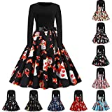 Women Dress Long Sleeve Xmas EIK Tree Print Graphic A-line Vintage 50s Evening Cocktail Holiday Party Swing Prom Dresses (01 Black, M)