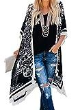Stevemary Moda para Mujer Frente Abierto Impreso Estilo Suelto Kimonos Conjunto de Bikini Informal Traje de ba?o Cubrir D Negro Talla ¨²nica