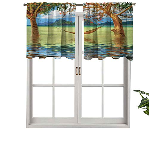 Hiiiman Sunshine Blockout Valance Curtain Image of Hammock Hanging Between Trees in The Tropical, Set of 1, 36'x18' for Indoor Living Dining Room