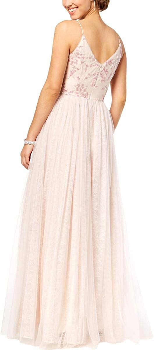 Adrianna Papell Women's Sequin Embroidered Tulle Spaghetti Strap V-Neck Long Dress