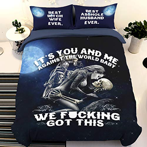 Skull Duvet Cover King Size 3D It's You and Me Printed Bedding Quilt Cover with Zipper Closure Soft Microfiber Gothic Bedding Set 220x230cm