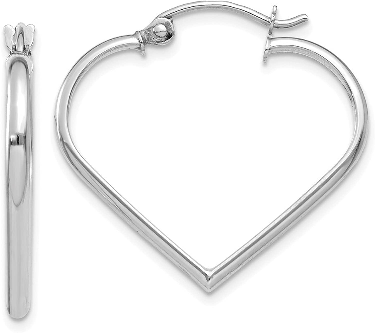 Beautiful White gold 14K 14k White gold 2mm Heart Hoop Earrings