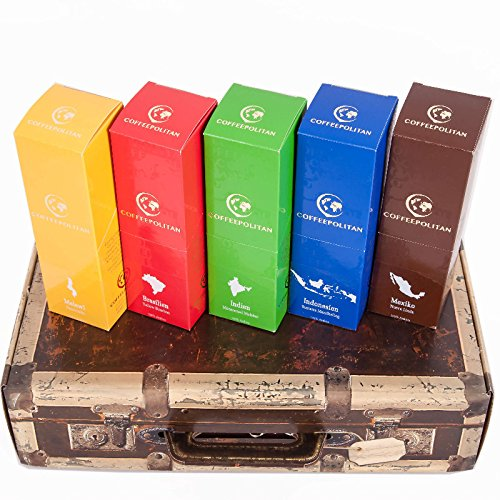 Coffeepolitan Geschenkset - Kaffee aus 5 Kontinenten - grob gemahlen - eine ausgefallene Geschenkidee, ideal als Weihnachtsgeschenk oder zum Advent