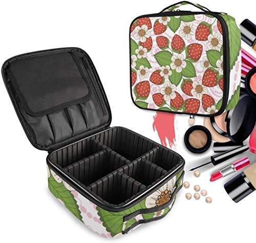 Cosmétique HZYDD Fleur Strawberry Make Up Bag Trousse de Toilette Zipper Sacs de Maquillage Organisateur Poche for Compartiment Femmes Filles Gratuit
