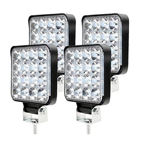 4PCS Phare de Travail LED 48W, Projecteur LED Voiture 12V Etanche IP 67, Feu de Travail LED pour Voiture Camion Tracteur SUV Bateau (4PCS)
