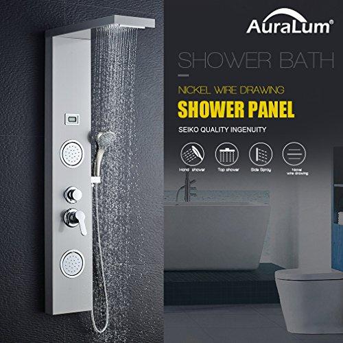 Auralum - Panel de Ducha Moderna Acero Inoxidable con Pantalla Digital De la Temperatura del...