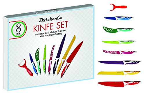 ZkitchenCo 8 piece Kitchen knife cutlery set, Cooking Gadgets, Stainless steel Multi-Colored Knives, Chef, Utility, Paring,Bread, Cheese, Pizza, PLUS Ceramic Peeler , Premium gift box