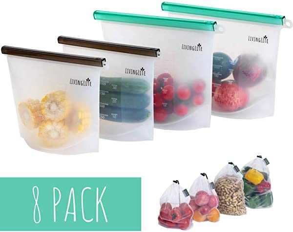 Living Lite Reusable Silicone Storage Bags Mesh Produce Grocery Bags 8 PACK Reusable Silicone Food Bag Freezer Bags Ziplock Reusable Sandwich Bags Snack