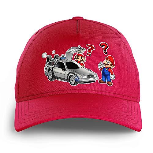 Casquette Enfant Rose parodie Mario - Retour vers le futur - Mario 3D, Mario Pixel et la Delorean - De retour Vers le Futur...(Casquette de qualité supérieure - Taille unique ajustable - imprimé en