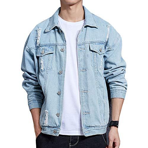 Guiran Herren Jeansjacke Ripped Denim Jacket, Oversize Destroyed Look Jacke HellblauJ06 L