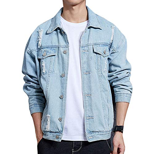 Guiran Herren Jeansjacke Ripped Denim Jacket, Oversize Destroyed Look Jacke HellblauJ06 M