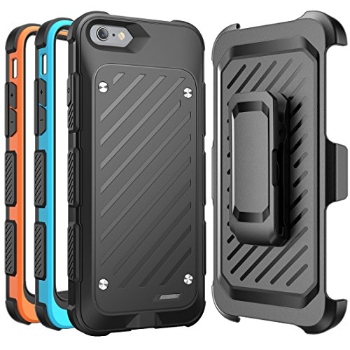 iPhone 6s Battery Case, SUPCASE MFI Certified Beetle Power Holster Battery Case for Apple iPhone 6 - Retail Packaging - Black/Blue/Orange