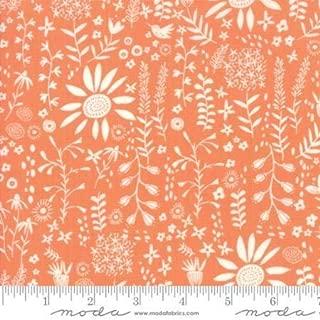 Wild Nectar - White Flowers on Orange - Moda Cotton Fabric