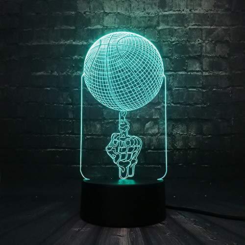 Decoración deportiva Lámpara LED Usb 3D Figura media Jugar baloncesto 7 colores Cambio de luz Cool Boy Dormitorio Juguetes Regalo