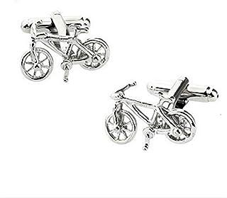 Fablcrew 1 Paire Boutons de Manchette Hommes Mode Forme de Bicyclette Chemise Boutons Affaires Bijoux Accessoires
