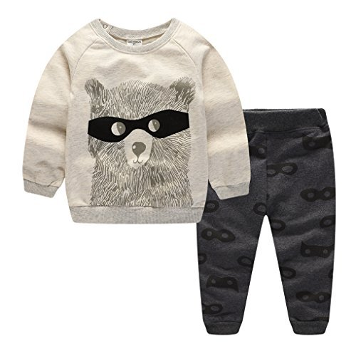 BIBNice Toddler Boys&Girls Crewneck Cotton Long Sleeve Set Hoodie Sweatershirt Set