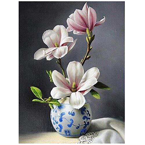 Lznxzq DIY 5D Diamant Malerei Kit Blumen Orchidee Vase Mosaik Kreuzstich Vollrunde Bohrer Strass Stickerei Kunsthandwerk für Erwachsene Anfänger Home Decor Geschenke 40X50cm