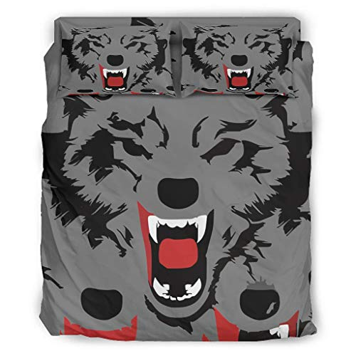 Lind88 4 Pcs Wolf Bedding Cover Sets Pillow/Duvet Cases Bedspread - Soft & Comfort Quilt Bedspread Cover white 203x230cm