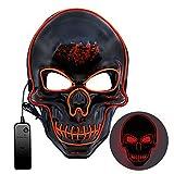 Halloween Maske, Halloween Maske LED 3 Beleuchtungsmodi,Halloween Gruselige Maske, Gruselmaske für Kinder Männer Frauen Erwachsene Kostümspiele auf Cosplays Feste und Partys(LED-MASK002)