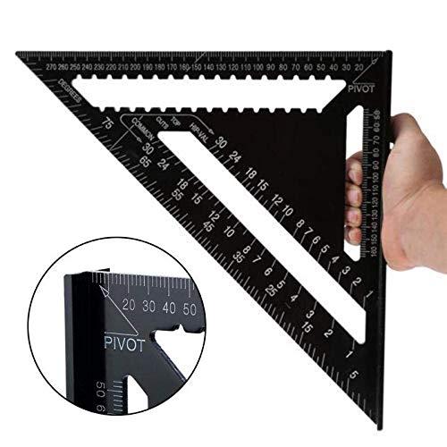 Yiwa Meetinstrument voor houten messen, driekantige liniaal, 7/12 inch, vierkant