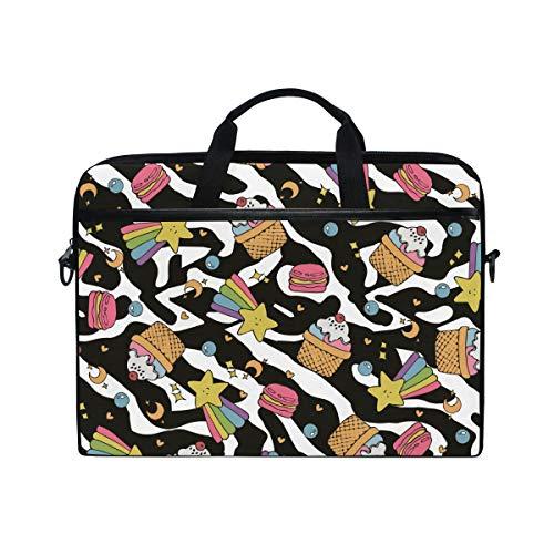 Ahomy 15-15,4 Zoll Laptop Tasche Kuchen Regenbogen Zebra Canvas Stoff Laptop Tasche Bussiness Handtasche mit Schultergurt für Damen und Herren