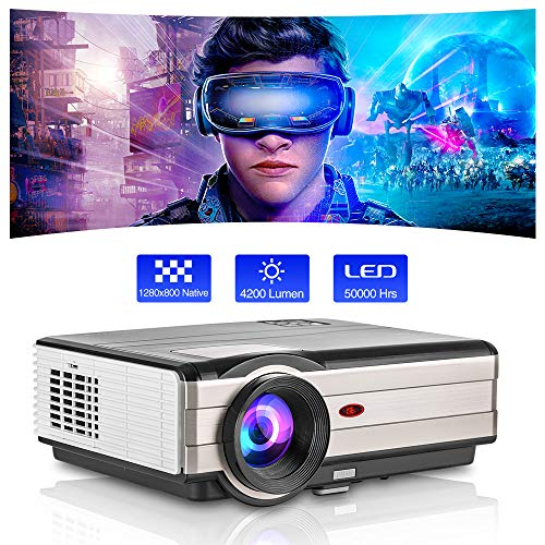 Outdoor Movie Projector,LED LCD Video Projector Support Zoom 200 Inch Display 4200 Lumen for Gaming Home Theater,Compatible with Smart TV Phone Laptop DVD Player Fire Stick HDMI USB AV Audio Mac