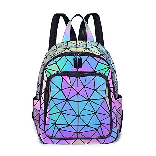 BESUURAN Geometrische Taschen Reflektierend Rucksack Damen, Handtasche Holographic Holo Schultertasche Geldbörse Geometrischer Leuchtende Taschen Set Handytasche NO.A