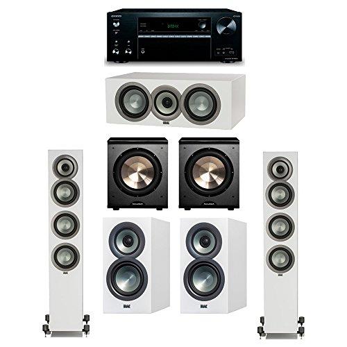 New ELAC Uni-Fi Slim White 5.2 System with 2 ELAC FS-U5 Floorstanding Speakers, 1 CC-U5 Center Speak...