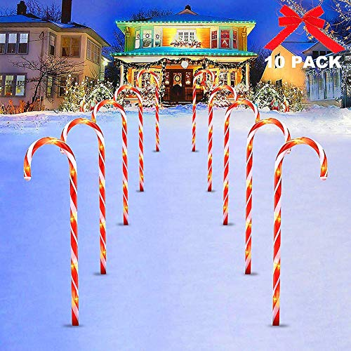 ISAKEN 10 Stück Weihnachten LED Zuckerstangen Lichterketten, Rot weiss Außenbeleuchtung, Weihnachtsbeleuchtung LED Gartenleuchte Stangen Zuckerstangenstäbe für Außendekoration Weihnachten Dekoration
