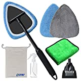 Windshield Clean Tool with Handle for Car Auto Glass Care Brush Wash Dust Anti-Fog with Ice Scraper Bonnets Towel Spray Bottle Cotton Bag (Set of 7)