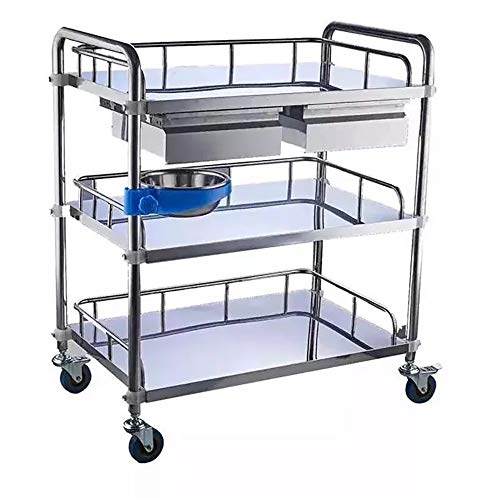 BOKALAKA Medical Carts,3-Tier Stainless Steel Trolley with Drawers, Medical Equipment Trolley with Dirt Bucket, Mobile Care Car, Detachable Trolley,Service Cart 100Kg Load