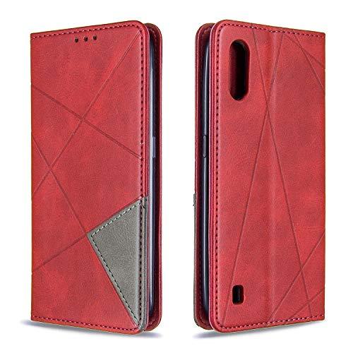 Tosim Galaxy A01 Hülle Klappbar Leder, Brieftasche Handyhülle Klapphülle mit Kartenhalter Stossfest Lederhülle für Samsung Galaxy A01 - TOBFE190079 Rot