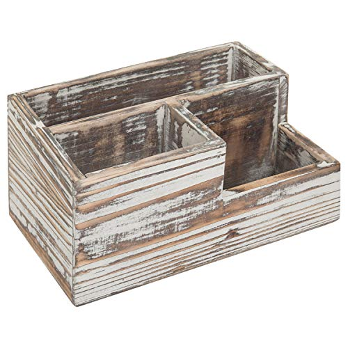 MyGift Rustic Torched Wood 3-Compartment Desktop Stationary Organizer, Remote Control and Media Storage Holder