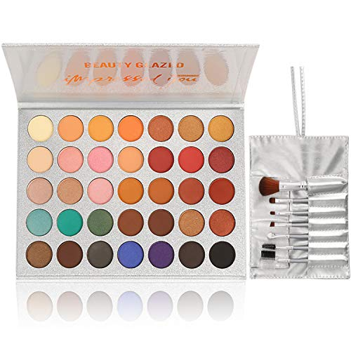 35 Colors Eyeshadow Palette and Makeup Brushes Set, Matte Shimmer Eye Shadow Pallete Waterproof Powder Natural Pigmented Nude Naked Smokey Professional Cosmetic Set
