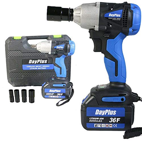 Electric High Torque Cordless Impact Wrench 18V with 6000mAh Li-Ion Battery & 4 Impact Socket(14mm, 17mm, 19mm, 22mm), 1/2 Inch Square Drive Powered Wrench w/Carry Case