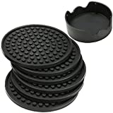 Townpeak Silicone Drink Coasters Cup Mat Cup Costers Tableware Black with holder Set of 6