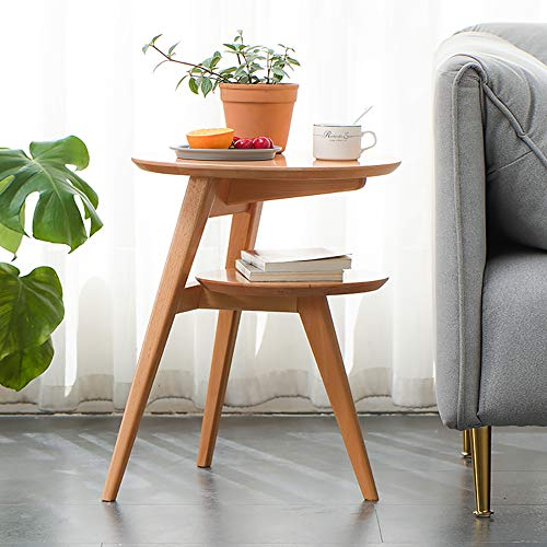 KAISIMYS Side Table, Round Wooden Side Table, Industrial Coffee Table, Round Sofa Table with Partition, Living Room, Bedroom, Stable and Simple Structure, Light Brown