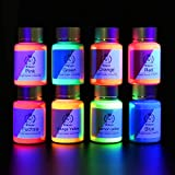 8 x Poudre UV Néon Noir Fluorescente - pour la fabrication du Pigment Fluorescent, Peinture Fluorescente, Peinture Corporelle (Non auto-lumineux, réfléchissant la fluorescence sous la lumière noire)