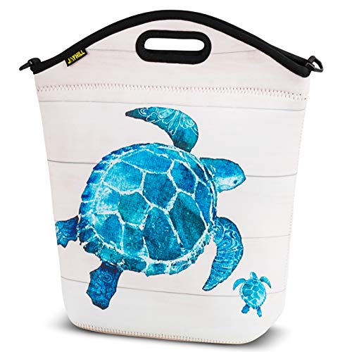 Large Neoprene Lunch Bag for Women Adults, Insulated Big Lunch Tote Box Reusable Lunch bag for Work Office Outdoors Travel (Blue Turtle)