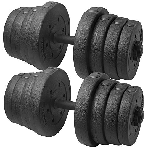 YAHEETECH 66 LB Weight Dumbbell Set Fitness Adjustable Cap Gym/Home Barbell Plates Body Workout for...