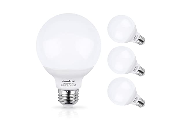 Charmant G25 LED Bulb, Aooshine 50W Incandescent Bulb Equivalent Soft Warm White  2700K 5 Watts E26 Base Globe Vanity Makeup Mirror Lights Bulb,  Non Dimmable(Pack Of ...
