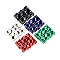 ミニブレッドボードキット、5個170ポイント穴カラーミニ無はんだプロトタイプブレッドボードABS回路基板セット