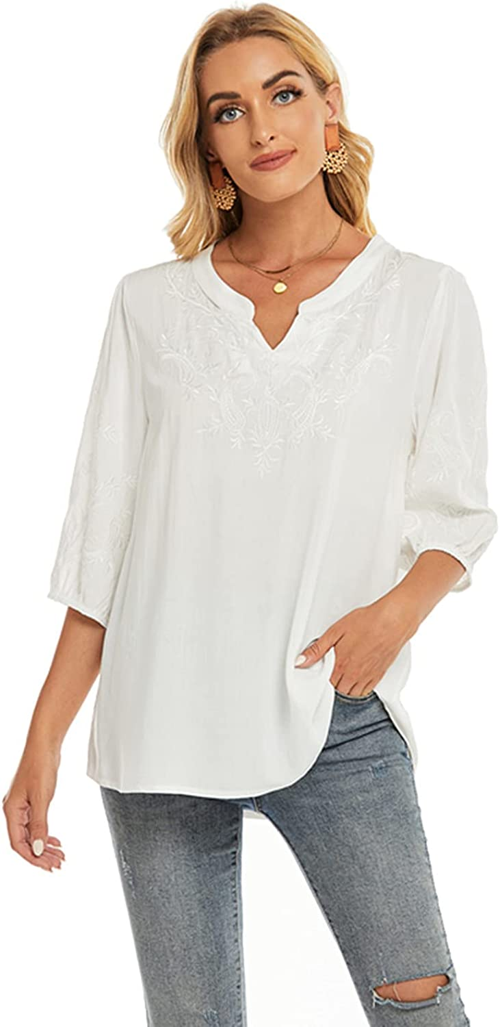 LauraKlein 3/4 Sleeve Tops for Women Mexican Embroidered Tops Peasant Blouse Boho V Neck Shirts Bohemian Casual Tunic