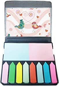 Pink Green Love Birds Valentine's Day Self Stick Note Color Page Marker Box