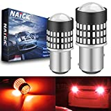 NATGIC 1157 BAY15D 7528 Bombillas LED 1800LM 3014SMD 78-EX Chipsets con proyector de Lentes para Luces de Respaldo de Cola de estacionamiento de Frenos, Rojo, 12-24 V (Paquete de 2)