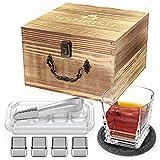 Hshrish Juego de vasos de whisky, Medusa tallada Rock, vasos de cristal de 300 ml, 1 paquete, 1 taza, 1 posavasos 4 piedras de hielo, 1 pinza...